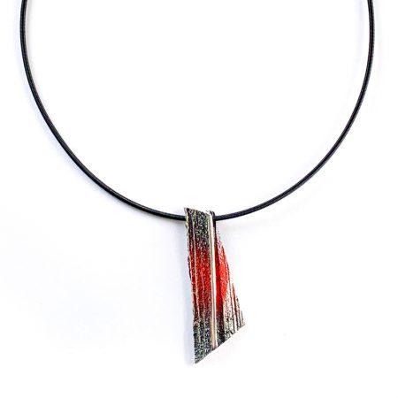 "Colgante Plata Orfega Lava colección ""Vulcano"" rojo grande"