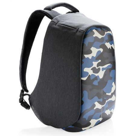 mochila compacta antirobo Camuflaje Azul Bobby de perfil