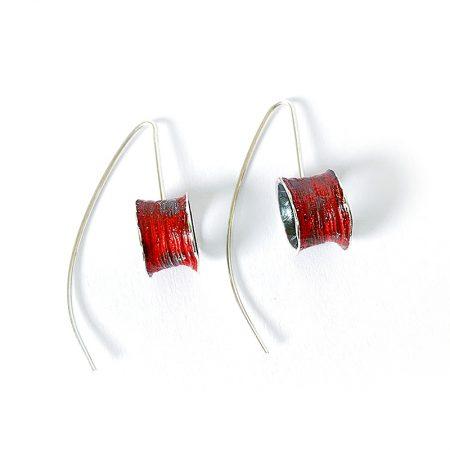 Pendientes Plata Orfega Ígneo colección Vulcano con gancho color Rojo