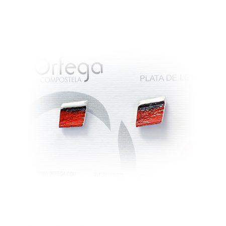 Pendientes de Plata Orfega Lava colección Vulcano Rojo