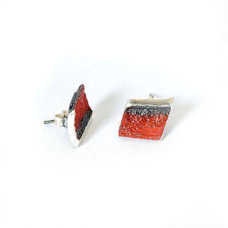 Pendientes de Plata Orfega Lava colección Vulcano Rojo cierre tuerca