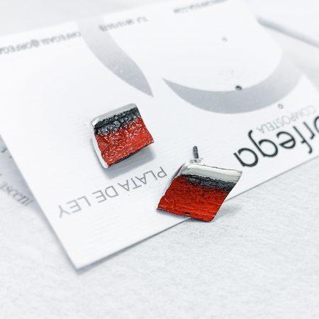 Pendientes de Plata Orfega Lava colección Vulcano Rojo detalle