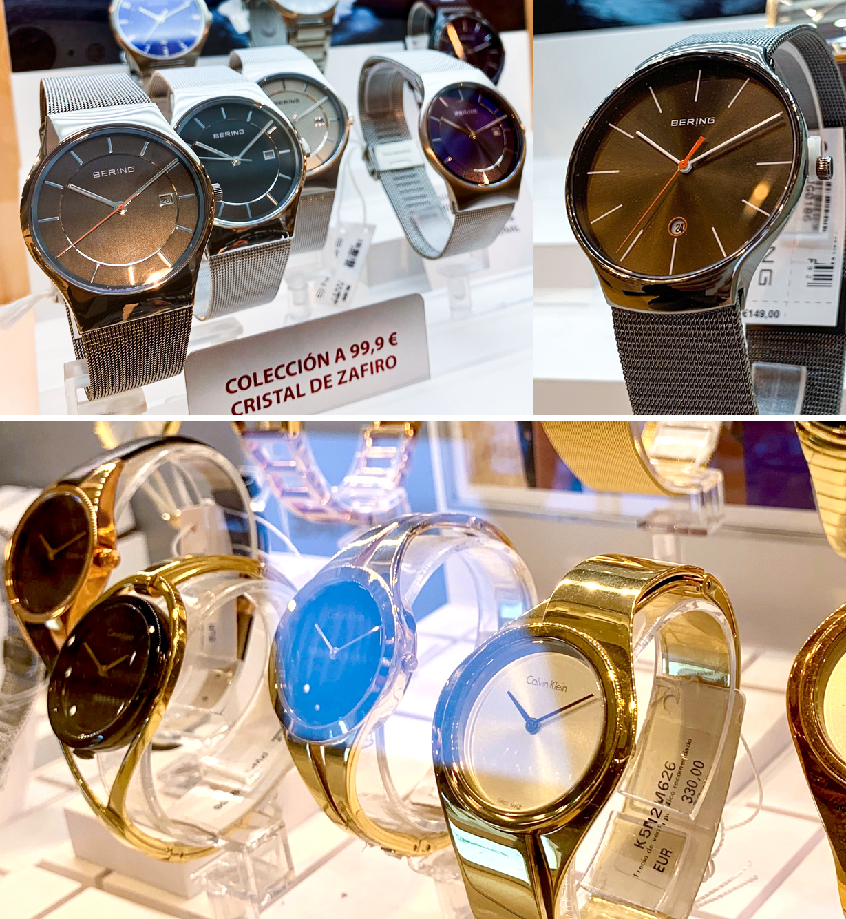 relojes estilo clásico dorados plateados Bering Calvin Klein