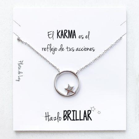 """Colgante de Plata de Ley """"El Karma es el reflejo de tu acciones. Hazlo brillar"""""""