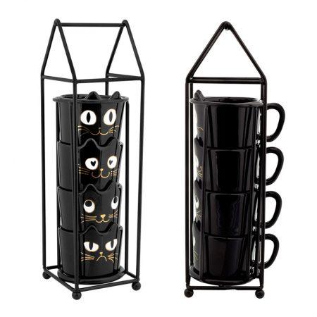 Tazas de café apilables de gato negro de Pylones
