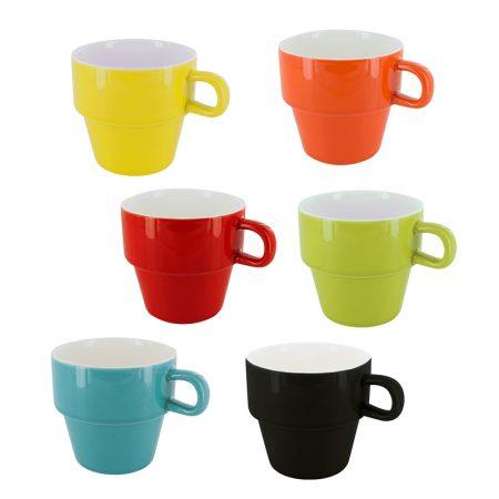 Tazas de café expreso de colores apilables de pylones