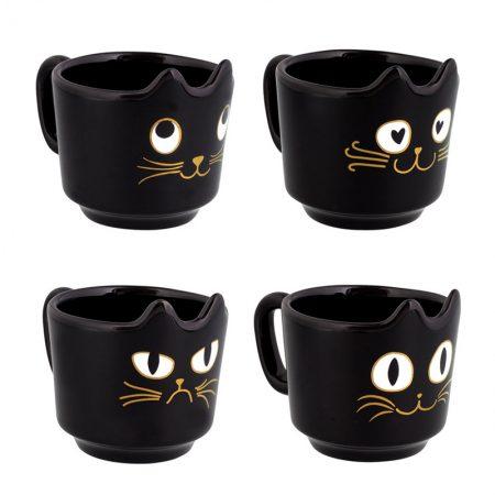 Tazas de gato negro para café apilables de Pylones