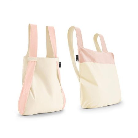 Bolsa-mochila plegable Crema y Rosa claro