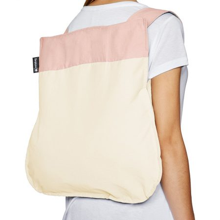 Bolsa-mochila plegable Crema y Rosa claro mochila