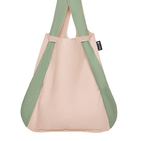 Bolsa-mochila plegable Rosa claro y Verde bolsa