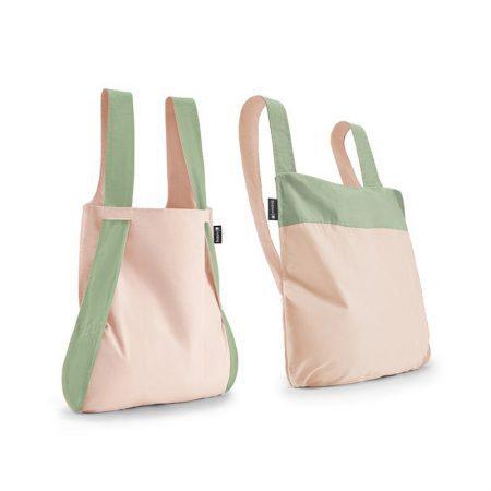 Bolsa-mochila plegable Rosa claro y Verde