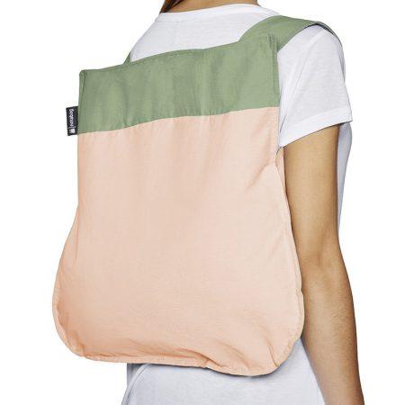 Bolsa-mochila plegable Rosa claro y Verde mochila
