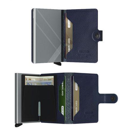Cartera automatica-anticopia Secrid Miniwallet bordada Líneas cian y azul marino abierta