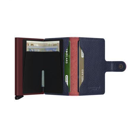 Cartera automatica-anticopia Secrid Miniwallet granate y azul abierta