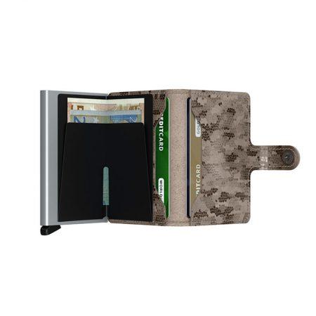 Cartera automatica-anticopia Secrid Miniwallet gris con interior de mosiaco abierto