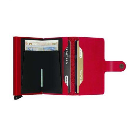 Cartera automatica-anticopia Secrid Miniwallet rojo vivo abierta