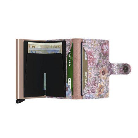 Cartera automatica-anticopia Secrid Miniwallet rosa con interior floreado abierta