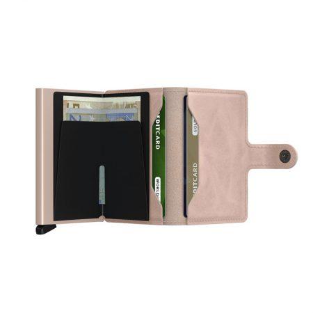 Cartera automatica-anticopia Secrid Miniwallet rosa pastel abierta