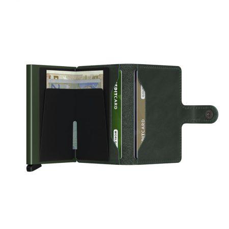 Cartera automatica-anticopia Secrid Miniwallet verde oscuro abierta