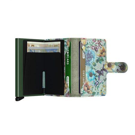 Cartera automatica-anticopia Secrid Miniwallet verde pistacho con interior floreado abierta