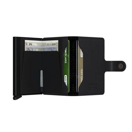 Cartera automatica-anticopia Secrid Miniwallet Perforada Negra abierta