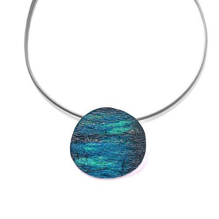 """Colgante Plata Orfega """"Saturno"""" Azul grande con salientes en alto brillo Simeltech"""