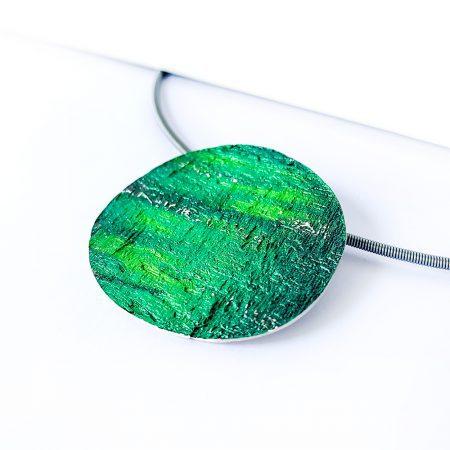 "Colgante Plata Orfega ""Saturno"" Verde grande"