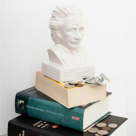 Hucha cerámica de Albert Einstein, decoración original y friki