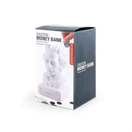 Hucha cerámica de Albert Einstein en su caja protectora