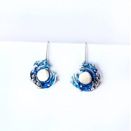 Pendientes de Plata Orfega colección Bajamar con gancho Azules