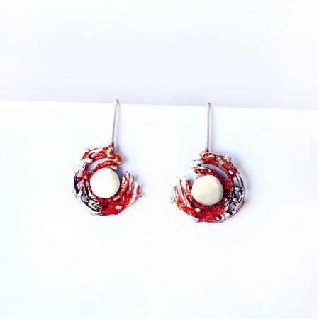 Pendientes de Plata Orfega colección Bajamar con gancho Rojo