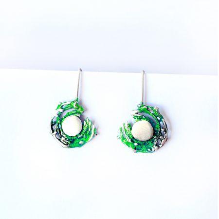 Pendientes de Plata Orfega colección Bajamar con gancho Verde