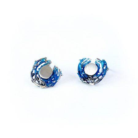 Pendientes de Plata Orfega colección Bajamar con tuerca pequeños Azul