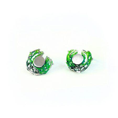 Pendientes de Plata Orfega colección Bajamar con tuerca pequeños Verde