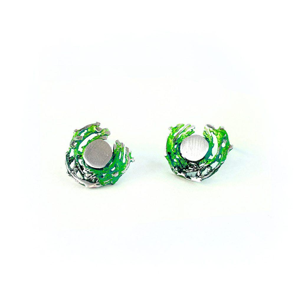 67eac56850cf Pendientes de Plata Orfega colección Bajamar con tuerca pequeños Verde