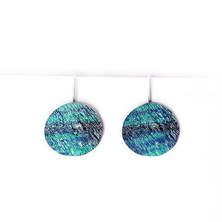 Pendientes de Plata Orfega colección Saturno con gancho grandes Azules