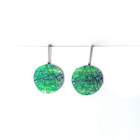 Pendientes de Plata Orfega colección Saturno con gancho pequeños Verdes