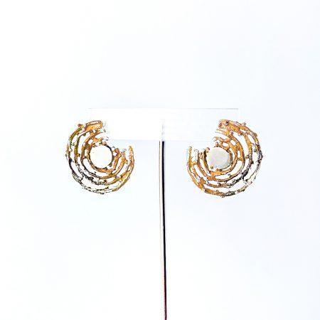 Pendientes de Plata Orfega colección Bajamar con tuerca grandes Oro Rosa