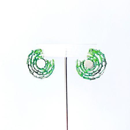 Pendientes de Plata Orfega colección Bajamar con tuerca grandes Verde