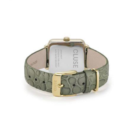 """Reloj CLUSE La Tétragone """"Cocodrilo Verde"""" con correa de piel y cierre de hebilla."""