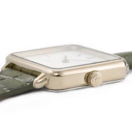 """Reloj CLUSE La Tétragone """"Cocodrilo Verde"""" detalle de la caja"""