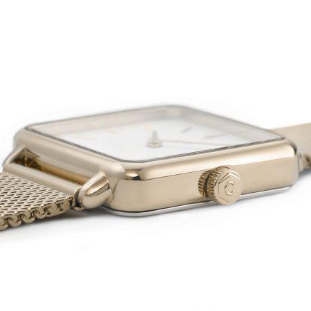 """Reloj CLUSE La Tétragone """"Malla de Oro"""" detalle de la caja"""