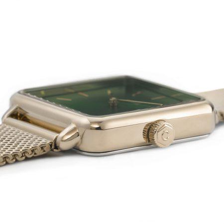 """Reloj CLUSE La Tétragone """"Malla de Oro y Verde Bosque"""" detalle de la caja"""