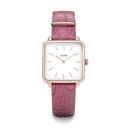 "Reloj CLUSE La Tétragone ""Oro rosa y cocodrilo frambuesa"""