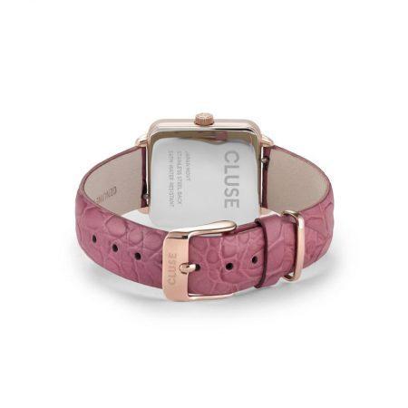 """Reloj CLUSE La Tétragone """"Oro rosa y cocodrilo frambuesa"""" con correa de piel y cierre de hebilla."""