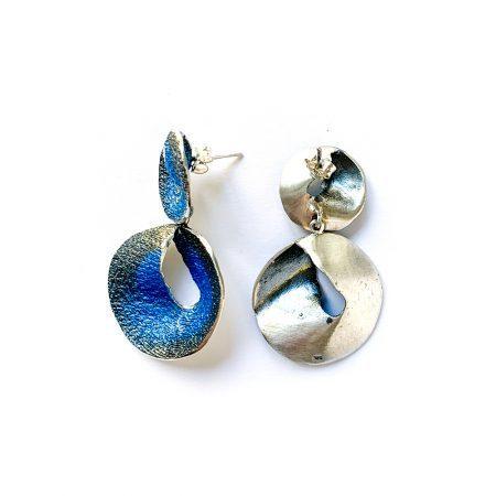 Pendientes de plata de dos piezas azul Sima Orfega detalle