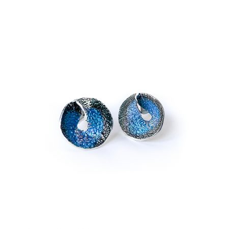 Pendientes de plata con tuerca azul Sima Orfega