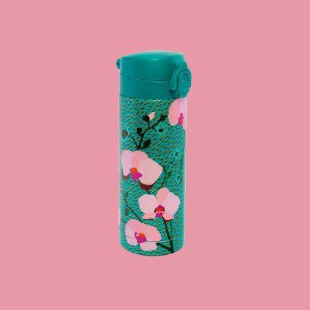 termo original pylones color turquesa y orquideas con cierre