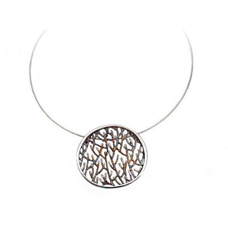 colgante de plata Orfega colección Ramas pequeño oro rosa