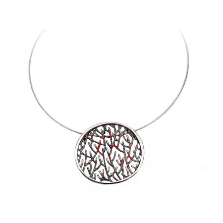 colgante de plata Orfega colección Ramas pequeño rojo